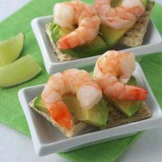 Shrimp & Avocado Canapes  Precooked shrimp make this pretty appetizer a snap to prepare.