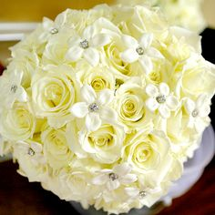 stephanotis boutonniere with white rose | White Rose Bouquet With Stephanotis Jewels For Your Wedding