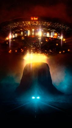 Close Encounters of the Third Kind Phone Wallpaper Beautiful Fantasy Art, Dark Fantasy Art, Sci Fi Fantasy, Amblin Entertainment, Aliens And Ufos, Close Encounters, Movie Poster Art, Columbia Pictures, Movie Wallpapers