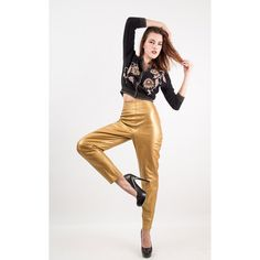 Vintage gold leather pants / High waisted cigarette bad girl pants / Skinny fit M by CarlaAndCarla on Etsy