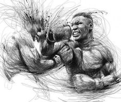 """Oeuvre by Vince Low - Sport Boxer """"Mike Tyson"""" Drawing Sketches, Pencil Drawings, Art Drawings, Sports Drawings, Sketching, Arte Bob Marley, Vince Low, Art Du Monde, Scribble Art"""