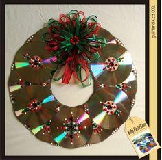 Decoracao-de-Natal-com-Reciclagem-de-CD-artesanato