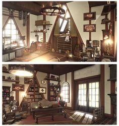 (4) Bookmarks / Twitter Room Interior Design, Apartment Interior, Apartment Design, Fantasy Rooms, Fantasy House, Sims 4, Minecraft, Final Fantasy, Decoration