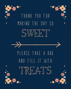Candy Bar Sign  Navy & Peach  Digital by BettysCustomSigns on Etsy