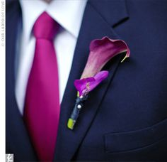 radiant orchid and navy wedding suit, groomsmen