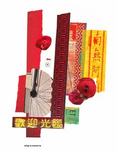 my day 192 collage {welcome} :: scrap + cut papers, joss paper, cardboard; glued.