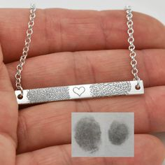 Fingerprint Necklace, Fingerprint Jewelry, Handwriting Engraving, Personalized Jewelry, Bridesmaid Gift, Bar Necklace, Engraved Necklace by JubileJewel on Etsy