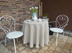 Linen tablecloth by shabby.romantic / Okrúhly ľanový obrus