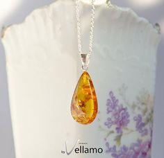 Honey orange natural Baltic amber pendant natural by byVellamo