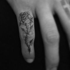 small rose finger tattoo #flower #rose #tattoos this would be pretty on the side of the hand