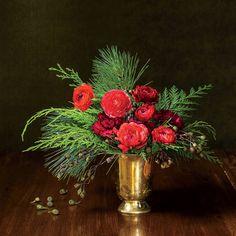 Classic Cheer Arrangement: Pine + incense cedar + eucalyptus pods + ranunculus + carnations