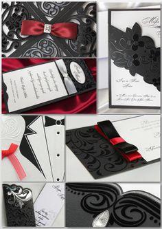 #mariage #noir et #blanc et #rouge