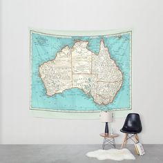 Australia Map Tapestry Wall hanging  vintage map by Mapology