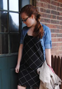 Windowpane Slip Dress outfit post { find the full blog post at stripedflats.com }