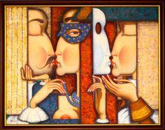"""seria """"Love stories"""", maska. 90cmx70cm, olej, płótno, 2013"""