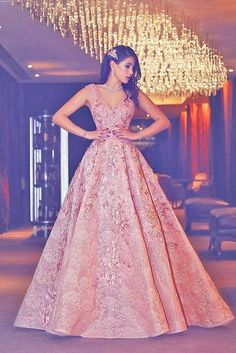 Elegant Prom Dresses, Luxury Evening Gown Flowers Puffy Pink V-Neck Beading Lace Evening Gowns Shop for La Femme prom dresses. Elegant long designer gowns, sexy cocktail dresses, short semi-formal dresses, and party dresses. Indian Wedding Gowns, Indian Gowns Dresses, Prom Dresses, Formal Dresses, Reception Dresses, Indian Reception Dress, Wedding Reception Gowns, Wedding Dresses, Wedding Receptions