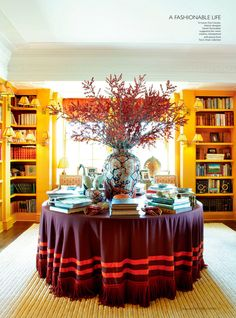 20 {Great} Shades of Orange Wall Paint {and Coral, Apricot, Kumquat...} - laurel home | featuring Tory Burch's fabulous orange library with beautiful #chinoiserie porcelains
