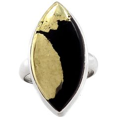 Pyrite in Magnetite (Healer's Gold) 925 Sterling Silver Ring Jewelry s.7.5 PIMR38 - JJDesignerJewelry