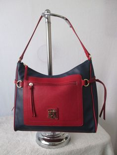 Tommy Hilfiger Handbag Hobo Color Blue Red 6932527 468 Retail Price $85.00 #TommyHilfiger #Hobo