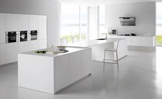 Interior White Kitchen Ideas with Center Contemporary Kitchen Island and Minimalist Wall Mounted Storage also Tall Cabinet for Modern White Kitchen Design Inspirations Minimalist Kitchen Design, Home Kitchens, Contemporary Kitchen, Kitchen Design, White Modern Kitchen, Vintage Kitchen, White Kitchen Cabinets, Minimalist Kitchen, Classic Kitchen Design