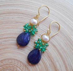 Sidonie gemstone cluster earrings cobalt navy dark blue green lapis lazuli emerald freshwater pearl gold fill May June December birthstone Lapis lazuli is the Traditional birthstone for December and the accepted gem for the seventh and ninth wedding anniversary. Top quality lapis