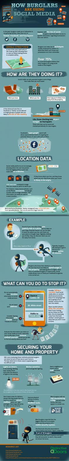 Home Security: How Burglars Use Social Media. This is an interesting infographic. The most important detail that the burglar needs is your address don't post it online…. Home Security Tips, Online Security, Web Security, Mobile Security, Website Security, Security Service, Security Systems, E Learning, Social Media Tips