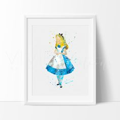 Alice in Wonderland Watercolor Nursery Art Print Wall Decor