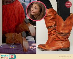 Riley's tan boots on Girl Meets World.  Outfit Details: http://wornontv.net/34222/ #GirlMeetsWorld