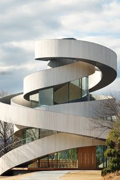 Discover Ribbon Chapel in Onomichi, Japan: This high-design church is made up of two dizzying spirals meant to evoke the weaving together of marriage. Space Architecture, Amazing Architecture, Architecture Details, Hall Design, Facade Design, Japan Design, Circular Buildings, Interesting Buildings, Higher Design