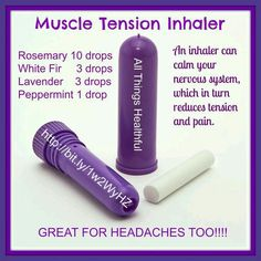 While it's helpful to apply an oil blend topically for tension, inhaling oils can actually relieve muscle tension as well. Since oils can calm your nervous system, they in turn reduce pain and tension. This is also great for headaches. Essential Oil Inhaler, Essential Oils For Colds, Essential Oil Uses, Young Living Essential Oils, Essential Oil Diffuser, Migraine, Young Living Oils, Doterra Oils, Diffuser Blends