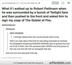 He stated that he hated twilight so yea