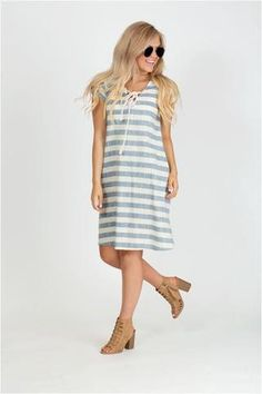 Lace Up Striped Dress