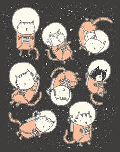cats in space illustration by drew brockington. Illustration Mignonne, Cute Illustration, Astronaut Illustration, Digital Illustration, Space Cat, I Love Cats, Crazy Cats, Buy A Cat, Cat Art