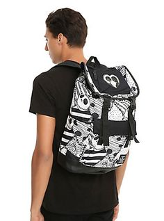 The Nightmare Before Christmas Black & White Jack & Sally Dress Print Slouch Backpack,