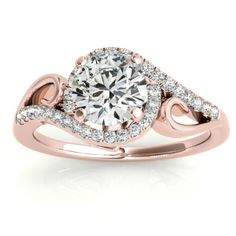 Swirl Shank Bypass Halo Diamond Engagement Ring 14k Rose Gold (0.20ct)