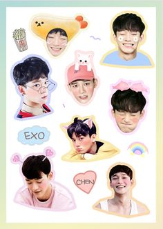 ❀ ˗ˏ ˎ˗ ❀ Exo stickers Exo Chen, Exo Kokobop, Sehun, Kpop Exo, Exo Stickers, Printable Stickers, Cute Stickers, Exo Fanart, Exo Lockscreen