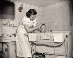 The stand-up, baby bath/changing table of the 1950s