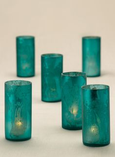 Antique teal frost mercury glass cylinder votive tea light holder wedding reception table party event bar restaurant decor vintage country outdoor
