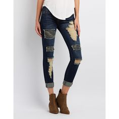 Charlotte Russe Distressed Patchwork Skinny Jeans ($25) ❤ liked on Polyvore featuring jeans, dark wash deni, denim skinny jeans, dark wash jeans, distressed jeans, skinny fit jeans and super low rise skinny jeans