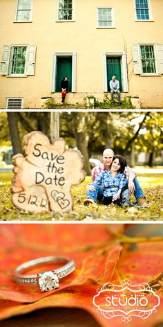 A fall engagement photo session at the Washington Crossing in Pennsylvania ( like one hour from philadelphia ). First picture is in front of a yellow and green rustic farm house. The engaged couple also have a cute wood sign for their save the date. Bottom photo is engagement ring on orange maple leaf. By 1314studio.net and 1314studio.com