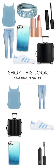 """Untitled #79"" by dydydyav ❤ liked on Polyvore featuring BA&SH, H&M, Rimowa, Charlotte Tilbury, adidas, Casetify and Swarovski"