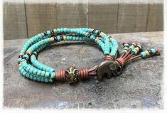 Beaded Bracelet/ Elephant Wrap Bracelet/ Seed Bead Leather Wrap Bracelet/ Boho Wrap Bracelet/ Beaded Leather Wrap/  Elephant Jewelry.