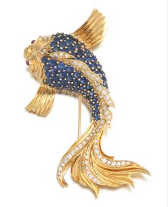Large 18k Gold, Sapphire and Diamond Fish Brooch