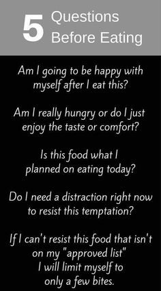 Questions before eating