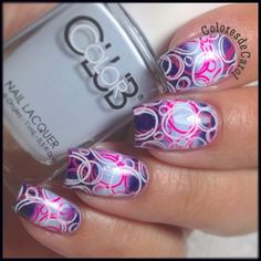 SnapWidget | Double Gradient with @colorclubnaillacquer In De-Nile and Nail-Robi. I stamped using the plate VL024 from @vividlacquer and @mundodeunas Neon Pink and White. #colorclub