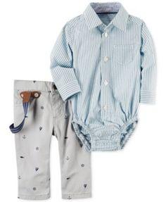 Carter's 3-Pc. Suspenders, Striped Shirt Bodysuit & Schiffli Pants Set, Baby Boys (0-24 months) | macys.com