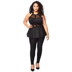 Plus Size Peplum Top ($34) ❤ liked on Polyvore featuring tops, mesh peplum top, plus size mesh top, women's plus size tops, peplum tops and mesh top