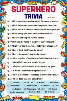 Make your party more fun by introducing an exciting Superhero Trivia questions & answers quiz game. Such thrilling quiz games refresh your memory. Family Trivia Questions, Trivia Questions For Kids, Trivia Questions And Answers, Quiz With Answers, Quiz Design, Knowledge Quiz, Pokemon, Question And Answer, Trivia Games