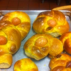 Nonna Dugie's Abruzzese anise Easter bread.  Let me know if you want the recipe ;)