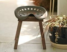 Vintage Tractor Seat Stool: Rusty and old tractor seat made into garden stool. Visit http://www.pinterest.com/debeloh for more!